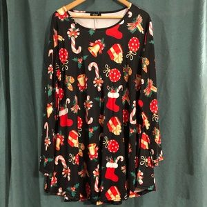 Christmas Print Skater Swing Dress